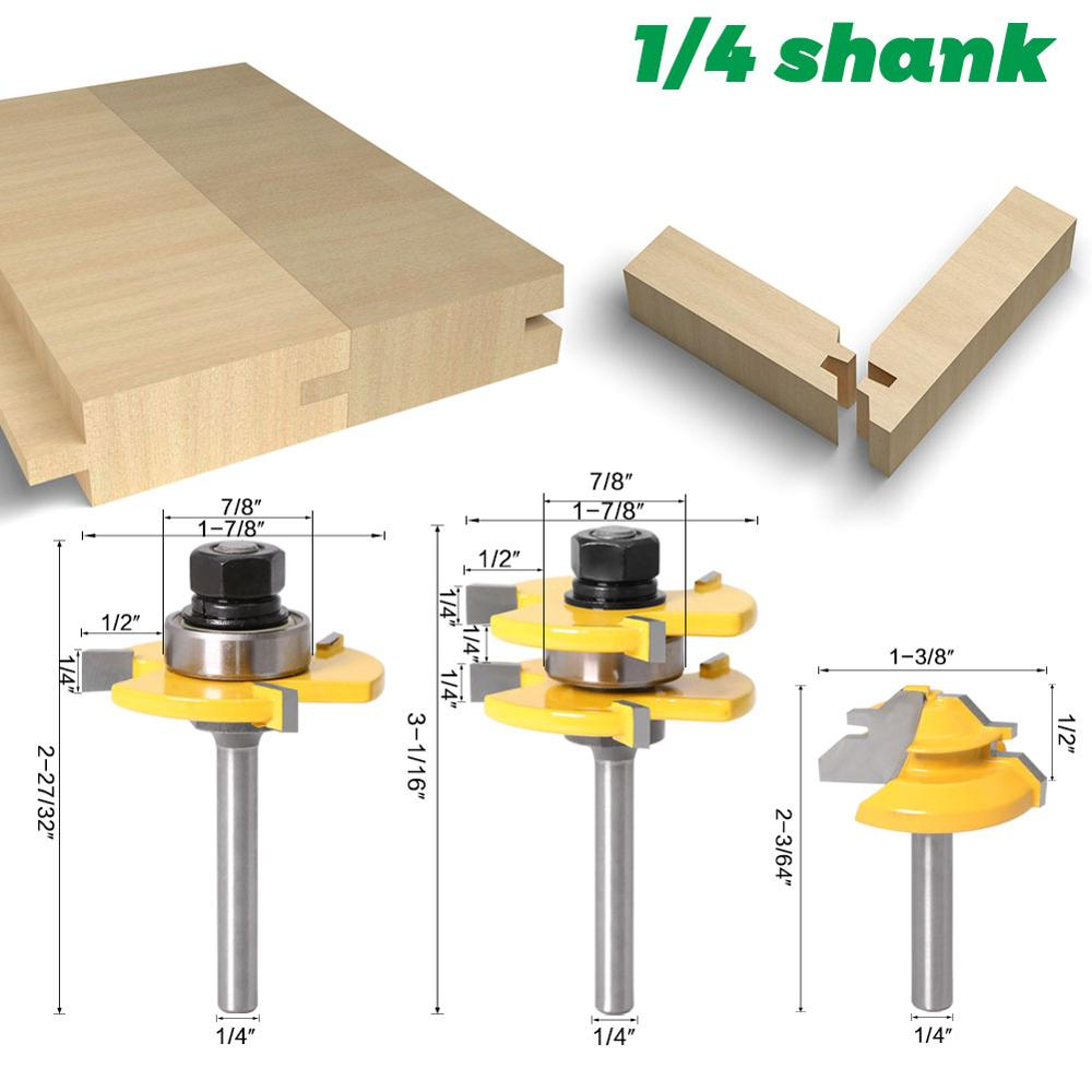 3 pc 6mm 1/4 Shank high quality Tongue & Groove Joint Assembly Router Bit 1Pc 45 Degree Lock Miter Route Set Stock Wood Cutting