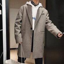 Winter Thick Woolen Coat Men Fashion Overcoat Retro Casual Tartan Jacket Streetwear Wild Loose Long Man M-2XL