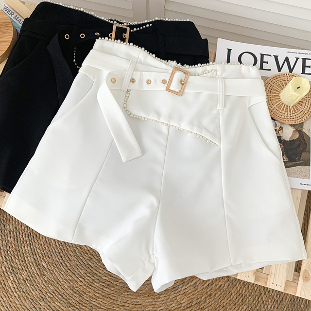 Ashgaily 2021 New Women's Shorts Diamond bow Shorts Slim Wide Leg A-line Sexy Shorts Summer Fashion 6