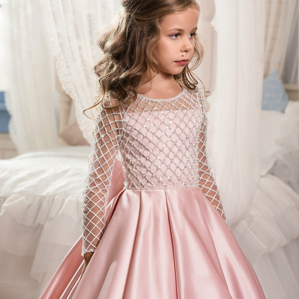 New-Flower-Girl-Dresses-Half-Sleeves-O-neck-Beading-Ball-Gown-Solid-Formal-First-Communion-Gowns (2)