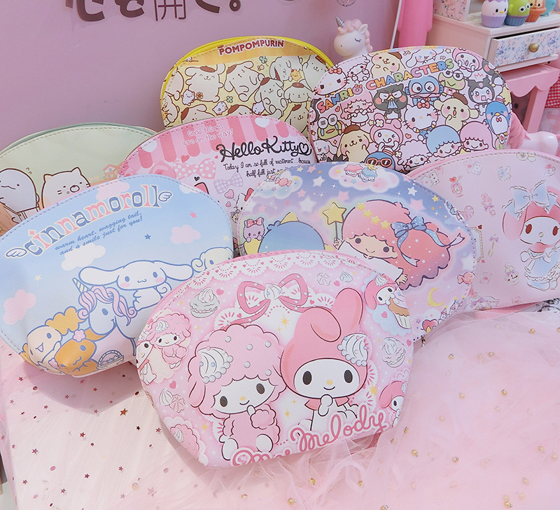 Cartoon Sanrio HelloKitty My Melody Cinnamoroll Pompompurin Little Twin Star Cosmetic Bag Cute Storage Makeup Bag For Girls Gift