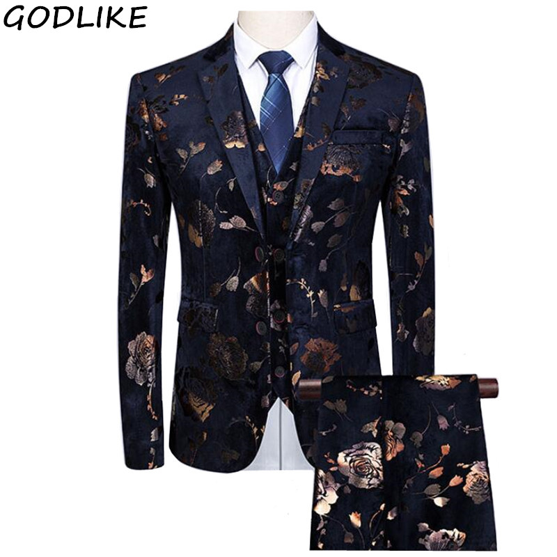 Fancy Mens Wedding Suits Costume Homme Taille 6XL 5XL Ternos Masculinos Slim Fit Vintage Floral Mens Suits Flowers Printed Sets