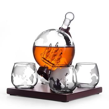 Whiskey Decanter Whiskey Dispenser Vodka Decanter Antique With 4 Glasses Liquor Dispenser For Whiskey Bourbon Globe Decanter фото