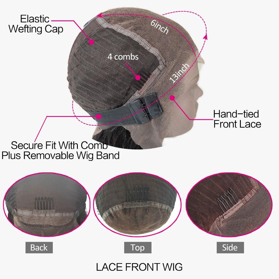 13x6 прямо Синтетические волосы на кружеве парик человеческих волос Выбеленные узлы предщипанный бесклеевой парик бразильский Волосы remy для... - 2