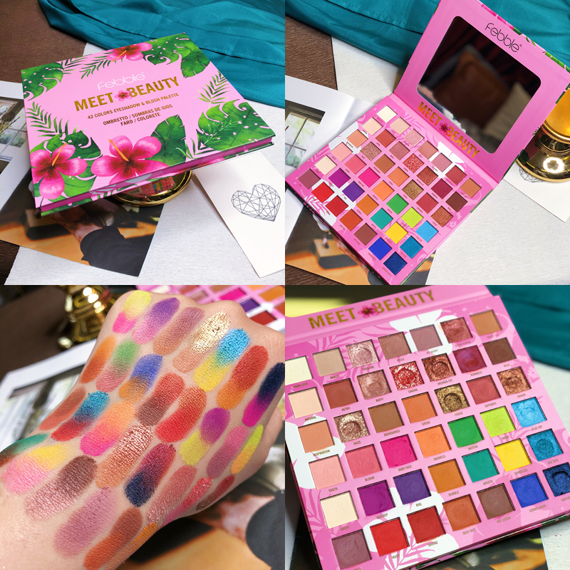 FEBBLE New 42 Colors Artist Shimmer Matte Eyeshadow Palette Makeup Long Lasting Waterproof Diamond Shine Eye Shadow Powder Kit