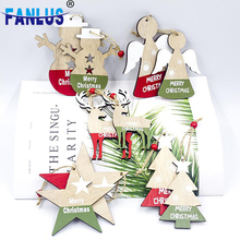 2pcs/lot Wodden Christmas Tree Hanging Ornament Decorations for Home Table Decoration Gifts Kids Xmas Party Supplies Favors Deco