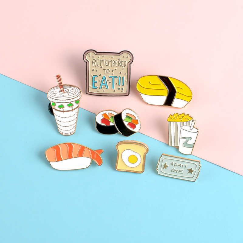 Sushi Jepang Pin Film Standar Popcorn Cola Enamel Pin Bros Telur Roti Kerah Pin Lencana Makanan Kemeja Tas Perhiasan Foodie hadiah
