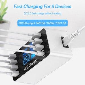 Image 2 - 8 พอร์ต Fast CHARGING USB Charger QC3.0 Quick Charge ประเภท C Smart Charger Station จอแสดงผล LCD ดิจิตอล USB Multi พอร์ตสำหรับโทรศัพท์