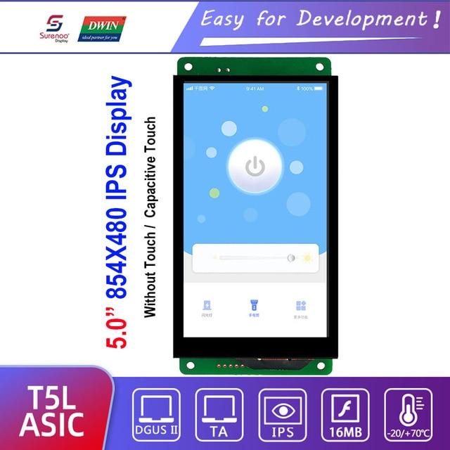"Dwin T5L HMI Intelligent Display, DMG85480C050_03W 5"" IPS 854X480 LCD Module Screen Resistive/Capacitive Touch Panel"