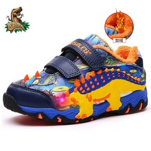 Dinoskulls Children Winter Shoes Dinosaur Glowing Sneakers Plush Inner Leather W