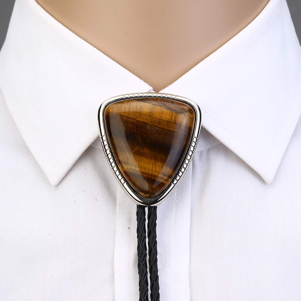 Bolo Tie For Man Women Handmade Western  Art Indian Alloy Necktie Triangle Naturel Stone
