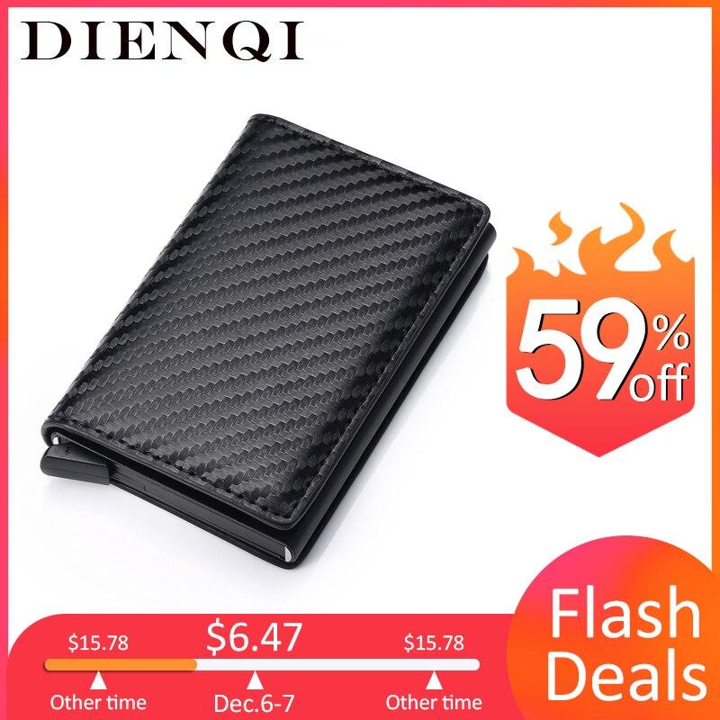 DIENQI Carbon Fiber RFID Blocking Men's Credit Card Holder Leather Bank Card Wallet Case Cardholder Protection Purse For Women