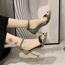 2020 summer fashion high-heeled sandals women's word buckle rhinestone fine-heeled sandals open-toed wild high-heeled shoes Z798 heeled sandals montevita heeled sandals