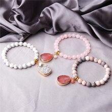Quartzs Druzy Stone Bracelet Natural Beads Charm For Women Bohemian Jewelry Gift Handmade Boho Fashion