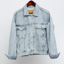 Vintage Women Jacket 2020 Autumn Winter Oversize Denim Jackets Washed Blue Jeans Coat Turn-down Collar Outwear Bomber Jacket cheap NoEnName_Null CN(Origin) Spring Autumn Regular Loose Single Breasted Outerwear Coats Casual Full STANDARD Cotton Pockets