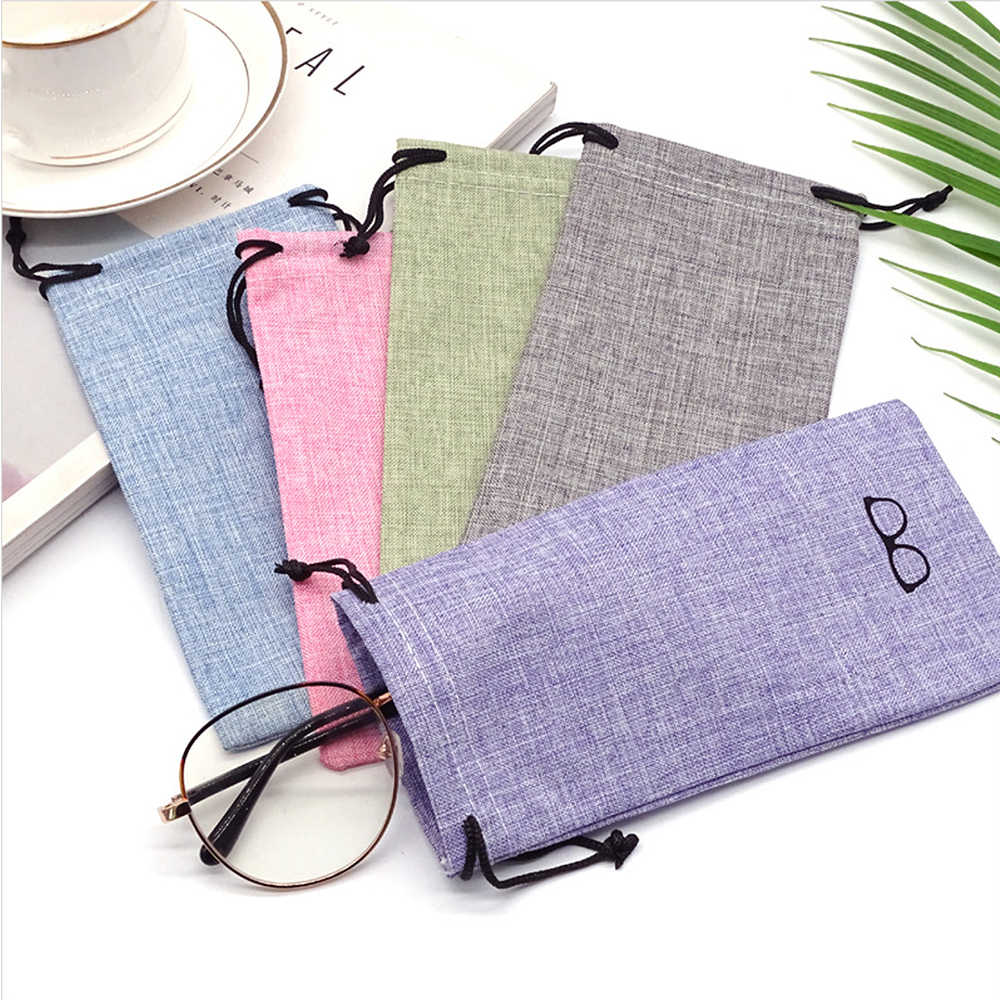1PCS Portable Glass Bag Sunglasses Pouch for Eyewear Container Linen Fabric Smooth Surface Good Quality Glasses Bag eye contacts