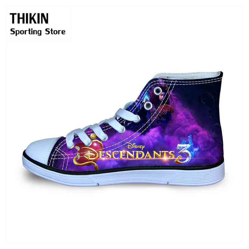 THIKIN Descendants Children Causal Sport Sneakers For Boys Girls 2019 Spring Winter Kids Classical High Top Canvas Walking Shoes