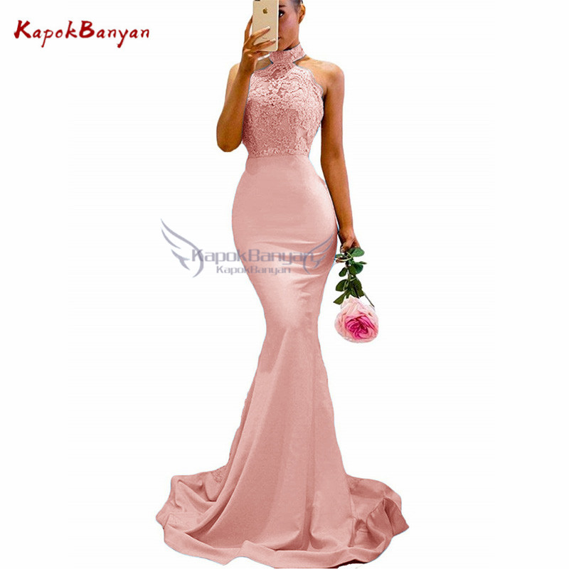 Applique Halter Mermaid Bridesmaid Dress Sequins Beaded Zipper Button Special Lace Train Maid Of Honor Dresses For Weddings