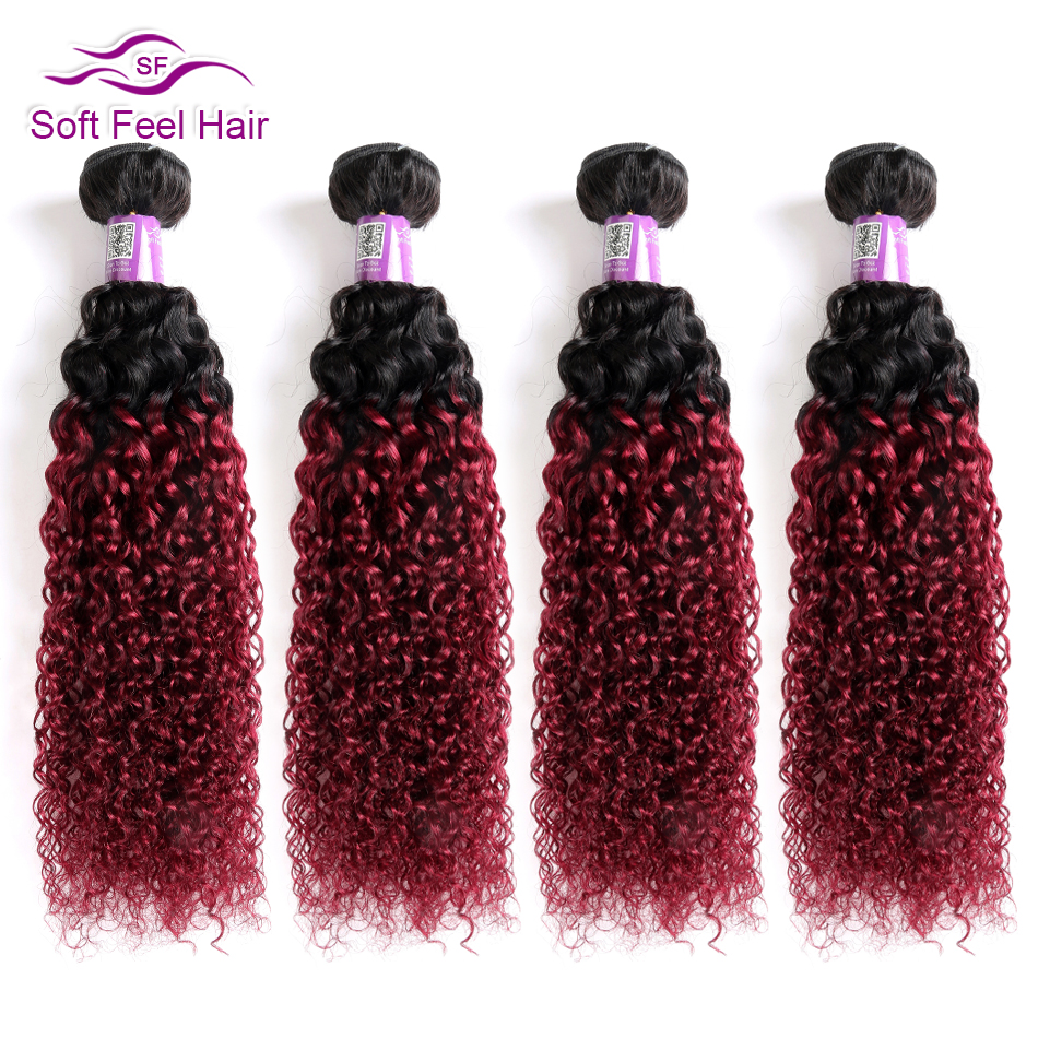 Soft Feel Hair 1B/Burgundy Ombre Hair Bundles 99J Brazilian Kinky Curly Hair Weave Bundles Red Remy Ombre Human Hair 4 Bundles