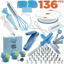 136-Piece Cake Decorating Turntable Set Cake Mold Decorating Mouth Baking Tool with Piping Bag Nozzle Reusable Cake Tools Set 12pcs cake decorating tool kits piping tip and bag baking icing set with 3 spatulas baking decoration tool