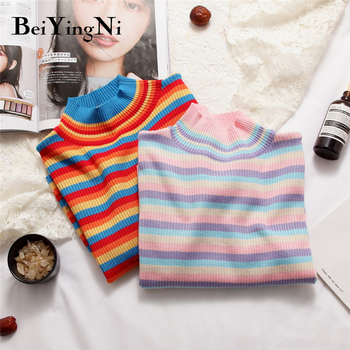 Beiyingni Spring Autumn Long Sleeve Knit Sweater Women Stripe Cute Hit Color Casual Pullover Tops Female Basic Ulzzang Jumper - discount item  36% OFF Sweaters