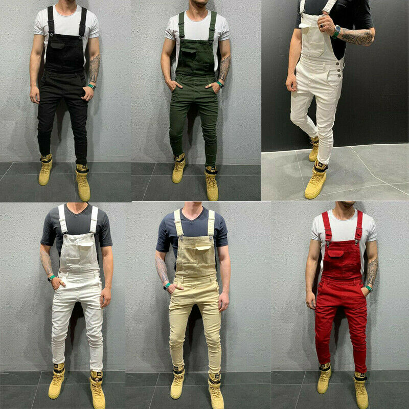 Fashion Men Overalls Jumpsuit Sleeveless Long Trousers Slim Fit Pants Skinny Jeans Causa Male Pockets Suits Clothesl