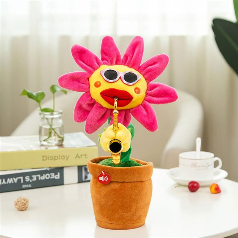 1pc Sunflower Saxophone Plush Toy Creative Doll Singing Dancing USB Charging Plush Doll for Kids Friends (Red 72 Songs) image