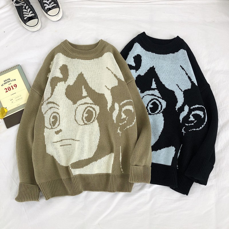 Men's Sweater New Slim Fit Cartoon Cartoon Print Sweater Fashionable City Casual Round Collar Individuality Young Men's Wear