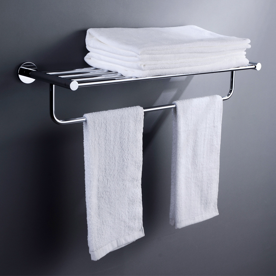 Copper Base Stainless Steel Sanitary Ware Toilet Bathroom Hardware Hanging Rack Double Layer Towel Rack Storage