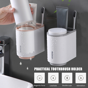 Image 5 - Ecoco ToothBrush Holder Wall Mount Toothpaste Squeezer Bathroom Accessories Set ToothBrush Toothpaste Storage Rack For Home