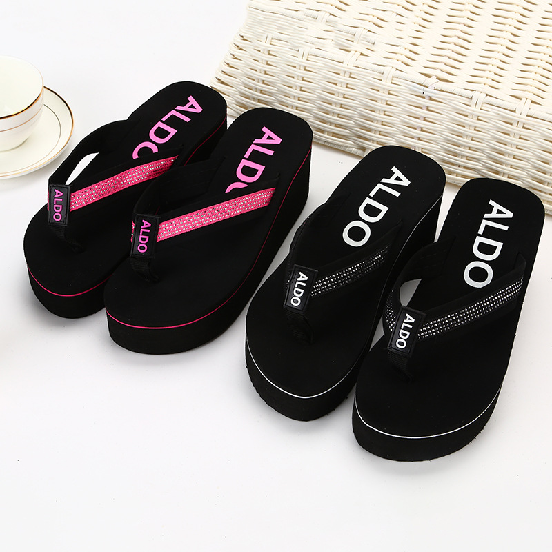 New Style Flip-flop Flip-flops Women's Summer High Heel Slippers Outer Wear Sandals Fashion Casual Sandals