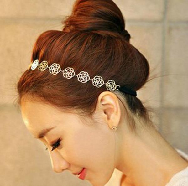 Femmes mode métal chaîne bijoux creux Rose fleur élastique bandeau cheveux bijoux dames bandeau cheveux cheveux accessoires 2021