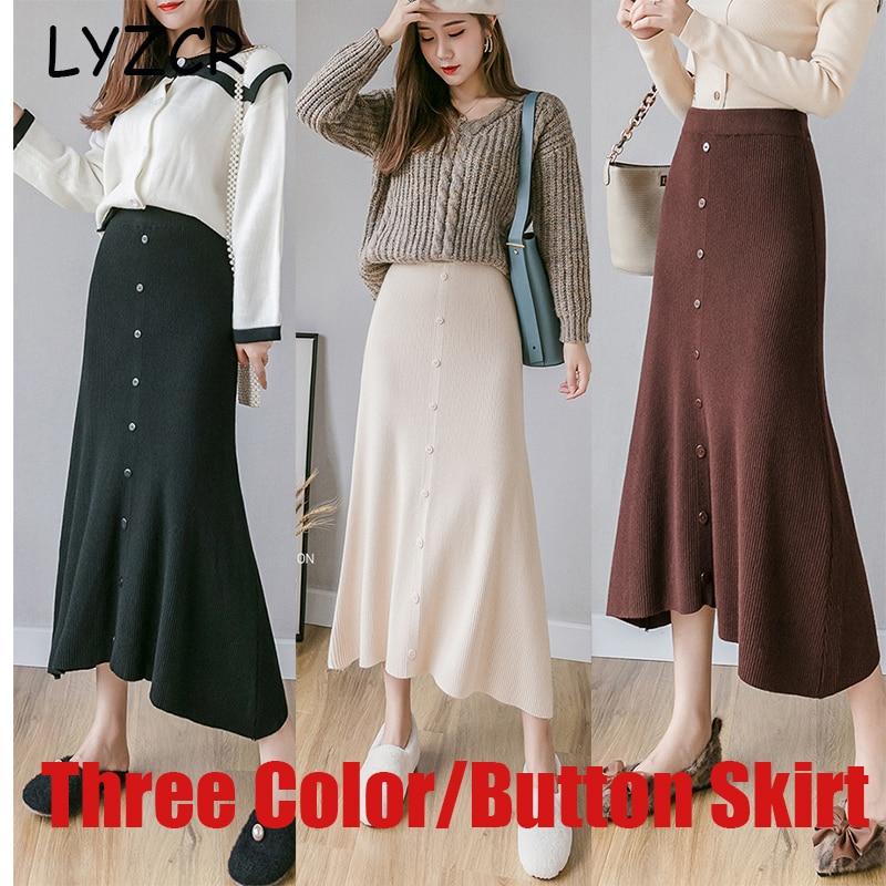 Image 2 - Midi Long Winter Knitted Skirt Women A Line High Waist Button Skirts For Women Elegant Skirts female Ladies Maxi Midi Skirt Saia-in Skirts from Women's Clothing