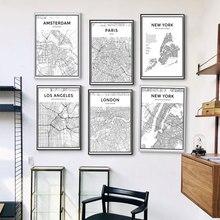 Preto branco mapa da cidade do mundo cartaz da lona nova iorque londres paris tóquio linha impressão da arte da parede pintura nordic minimalista decoração casa