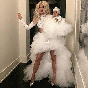 Лидер продаж, асимметричная Женская юбка, высокая низкая многослойная фатиновая юбка-пачка, очень Пышное вечернее платье, свадебное платье,...