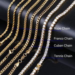 Image 5 - TOPGRILLZ buzlu Out Bling yıldırım kolye tenis zinciri bakır malzeme AAA kübik zirkon erkek Hip Hop takı hediye