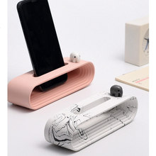 Nordic Home&Office Decoration Desk Decor Cement Mobile Phone Loud-speaker Concrete Holder With Miniature Figurines