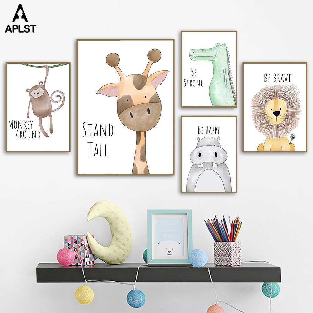 Stanza Della Scuola Materna Animale Stampe E Poster Inspirational Citazione Giraffa Scimmia Leone Essere Coraggioso Forte Felice Della Tela di Canapa Pittura Immagine Decor