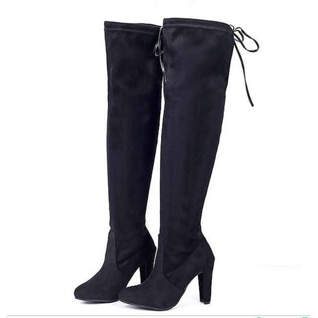 Seksi aşırı diz botları kadın botları kadın kış ayakkabı kadın süet uzun çizmeler bayanlar uyluk yüksek çizmeler bota Botas Mujer