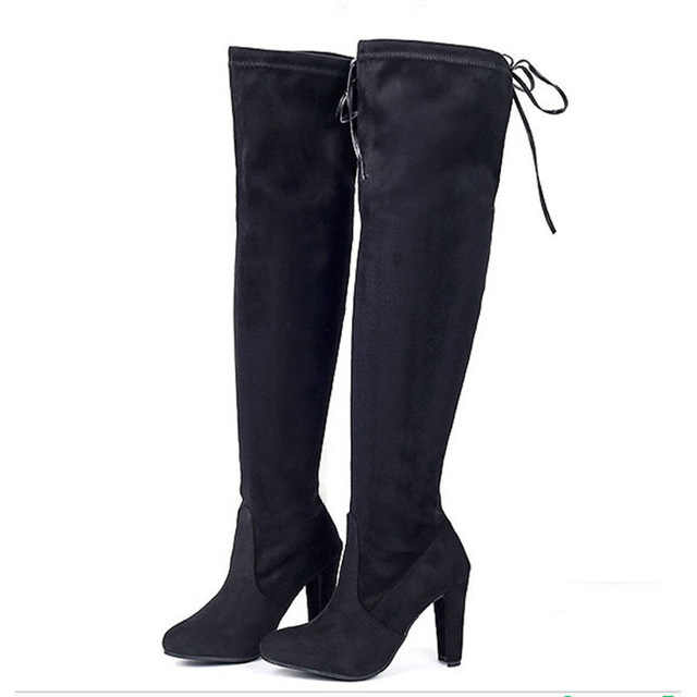 Sexy Over-The-Knee Mulheres Botas Femininas Sapatos de Inverno Mulheres Camurça Botas Longas Senhoras Coxa Botas Altas Bota Mulheres Botas Mujer