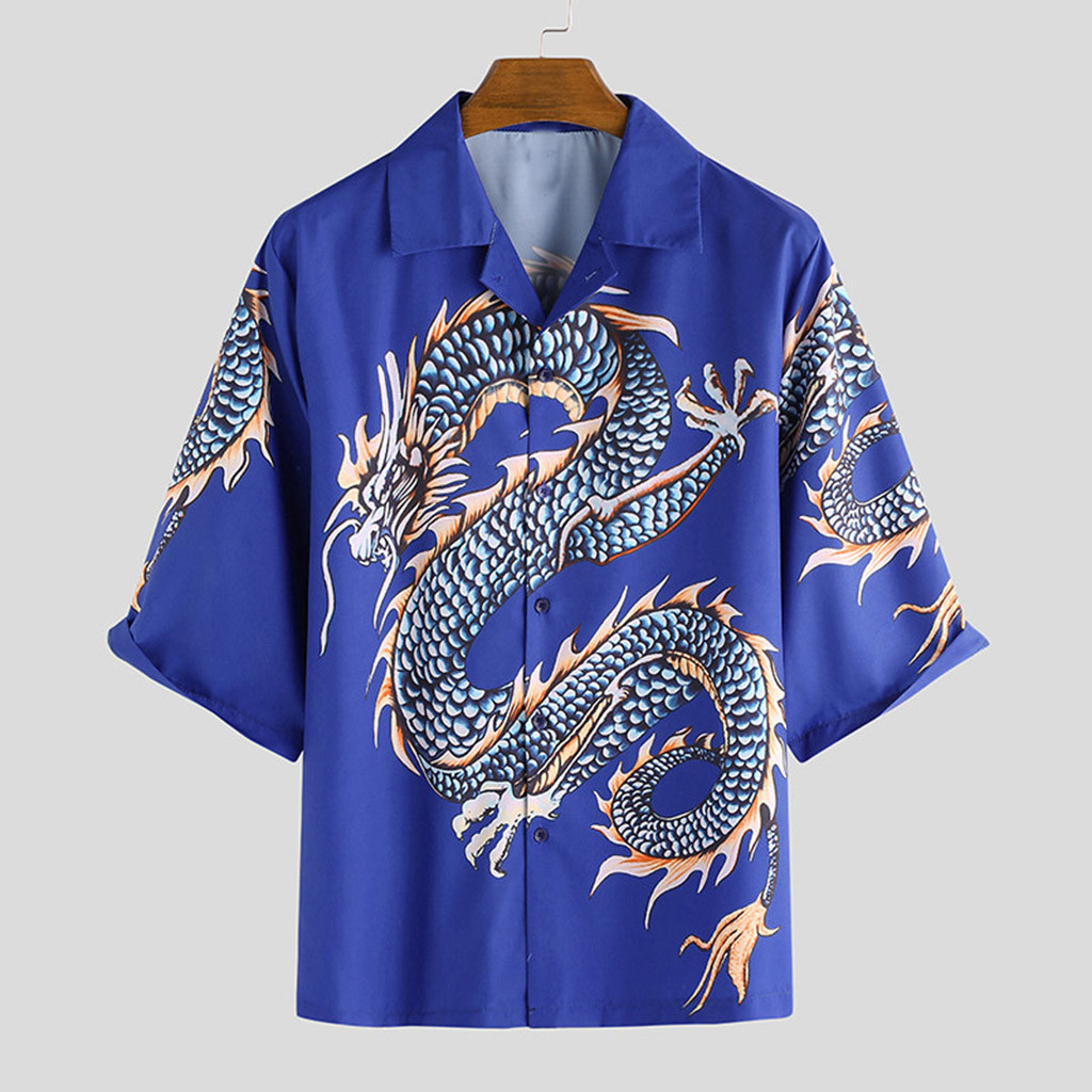 Oversized Short Sleeve Dragon Style Print Blouse Korean Streetwear Harajuku Women Man Hip Hop Punk Loose Couples Shirt Gothic