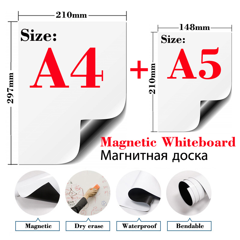 Size A4+A5 2 Pcs Soft Magnetic Whiteboard Fridge Stickers Wall Stickers Kids Drawing Board Dry Erase White Board Message Board