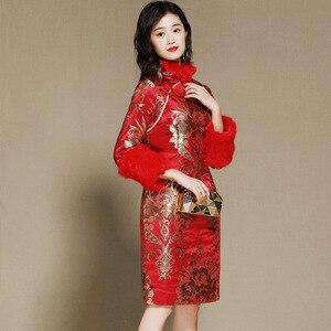 Image 3 - חורף ארוך שרוול מעודן vestido סיני שנה החדשה שמלת Cheongsam בציר אדום מסיבת שמלות Qipao מזרחי שמלת כלה