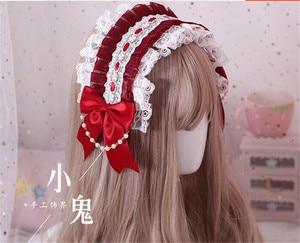 Image 3 - Diadema Retro japonesa de Lolita KC para mujer, Diadema con lazo, horquilla de encaje, accesorios de Cosplay B445
