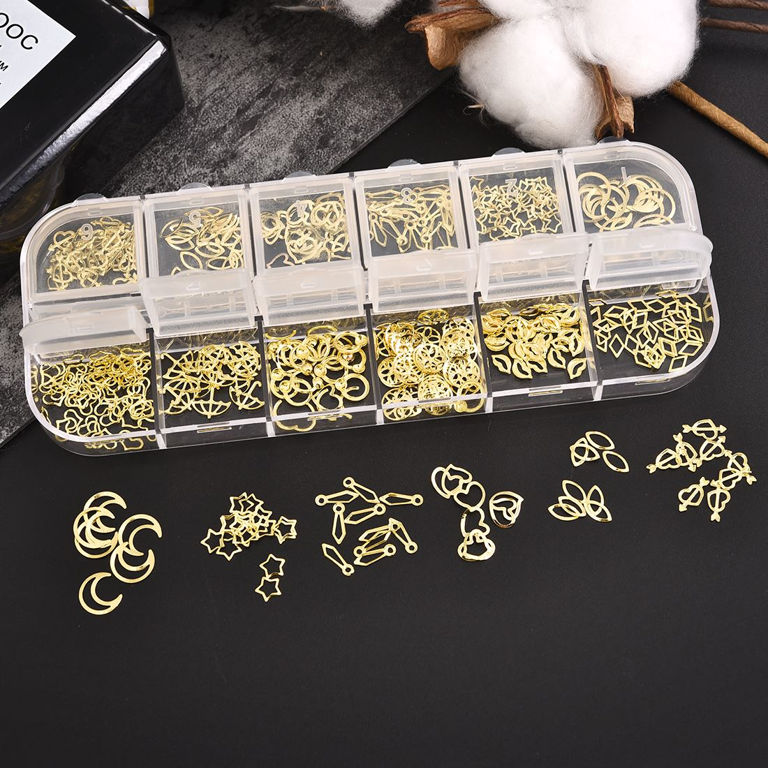 Golden Heart Star Flower Moon Shape DIY Filling Materials Filler Epoxy Resin Jewelry Making Nail Decoration