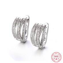 Real Silver 925 Jewelry Earring for Women,aros Mujer Oreja Orecchini Bizuteria Gemstone Hoop Aros De Hoop Garnet 925 Earrings(China)