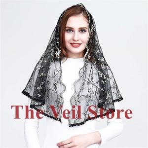 Image 5 - ISHSY Embroided Floral Lace Women Catholic Mantilla Veils for Church Chapel infinity HeadCover Latin Mass Velo de Novia Negra