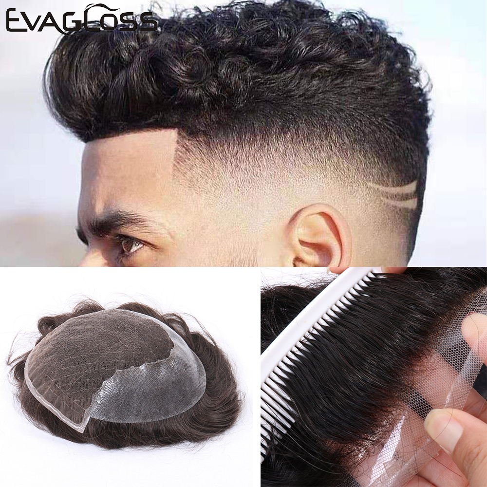 EVAGLOSS Men's Wig Q6 Style Lace Mens Wig Natural Hairline Human Hair Replacement System Mens Toupee Hair Prosthesis For Men
