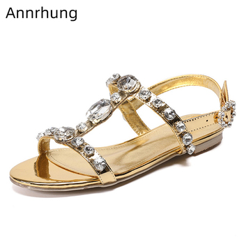 Crystal Gladiator Sandals Women Flat Summer Shoes Woman Shiny Patent Leather Rhinestone T-Strap Sandalias Mujer фото