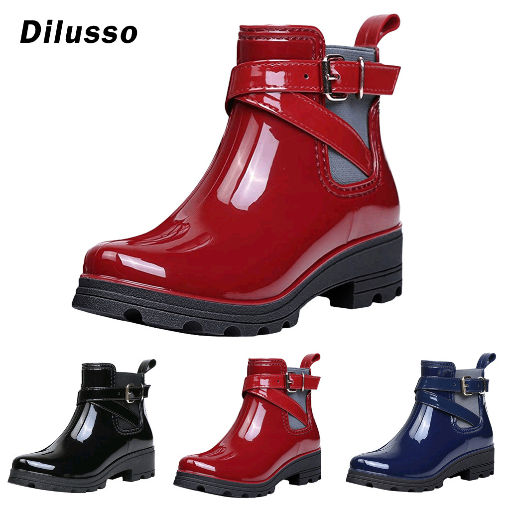 Audacious Women's Fashion Short Boots Rain Boots Non-slip Shoes Elastic Band Water Shoes Female Spring Autumn Winter Solid Boots